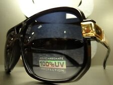 Men's or Womens CLASSIC RETRO VINTAGE Style SUNGLASSES SHADES Black & Gold Frame