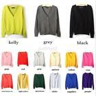 Korean Women Casual Long Sleeve Cardigan Knit Tops Sweater Knitwear Coat Outwear