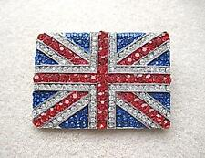 Dazzling & Patriotic Red, White, Blue Crystal Union Jack Brooch