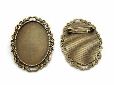 5 Antique Bronze 30x40mm Oval Blanks Bezel Cameo Cabochon Settings Brooches Pins