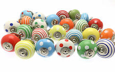 10 x Mixed Bright Coloured Ceramic Cupboard Knobs Cabinet Drawer Knobs (BRGHT-10