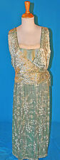 ANTIQUE DRESS c1912 FORMAL LAME BEADED EVENING GOWN MUSEUM DE-ACCESSIONED LABEL