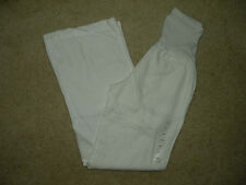 NWT $198 Pea in the Pod Collection Maternity Ivory 100% Linen Wide Flare Pants S