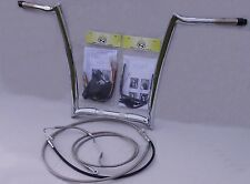 "Paul Yaffe 14"" Oem Chrome Monkey Apes Bar Ape-Hanger Handlebar Package Kit ABS"