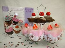 12 Cupcake Cake Dessert Multi Cup Tier Metal Holder with Star on top (SILVER)
