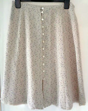 Laura ashley 100% Silk light blue Polka dot neutral button up skirt Size 10 *