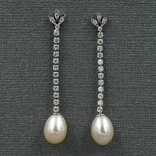 White Pearl Freshwater CZ 925 Sterling Silver Drop Dangle Earrings 08242 New