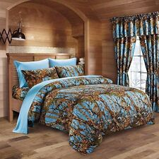 The Woods Queen Powder Blue Camo 7 Piece Bedding Set Comforter and Sheets