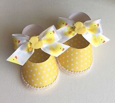 Baby Shower, Christening, Girl's Shoe Favor Boxes, Yellow, Rubber Ducky Theme,10