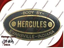 Hi Quality Hercules Body Builders Etched Brass Data Plate Evansville Indiana