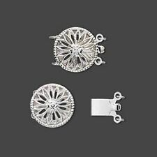 12mm x 14mm Round Filigree.925 STERLING SILVER Two-Strand Clasp - Classic Beauty