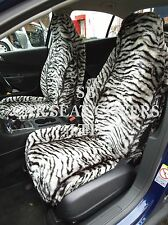 i - TO FIT A SKODA SUPERB CAR, FRONT SEAT COVERS, SILVER TIGER FAUX FUR