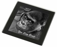 Gorilla 'You Sexy Beast' Black Rim Glass Coaster Animal Breed Gift, AM-12GC