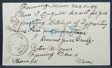 Postal Card One Cent - Farming 1899 to Chicago REC´D Cancel USA Post (Lot 6837