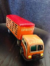 Vintage 1950's Tin Friction Truck and Livestock Trailer Made In Japan - COOL!