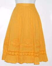 Bohemian Cafe Ladies Embellished Ruffle Hemline Boho Skirt Mustard Small (S) NWT