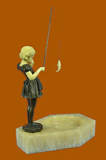 Art Deco Vienna Bronze Small Girl Ashtray Bronze Sculpture with Faux Bone Figure