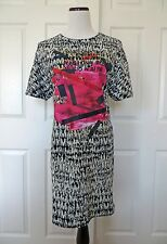 NWT ZARA Black & White Pink Graphic Jacquard Casual Relaxed Dress Size M