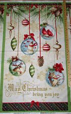 "Woodland Holiday Owl Ornament Christmas Fabric Panel 23""   #86390"