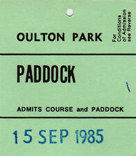 Oulton Park Paddock Entry Swing Ticket Competitor 15 September 1985
