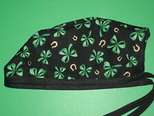 Surgical Scrub Hats/Cap St. Patrick's Day Green Clover ribbons & Gold Horseshoes