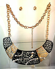 BEAUTIFUL GOLD BLACK PHAROAH EGYPTIAN STATEMENT NECKLACE & SPARKLING EARRING SET