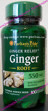 Ginger Root 550mg 100 Capsules Nausea Motion Sickness Relief