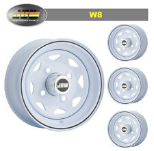 "4.5x10"" JBW W8 ICE WHITE STEEL WHEELS CLASSIC MINI SET OF 4"