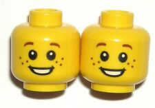 LEGO 2 Yellow Minifig Heads Freckles, Smile, Brown Eyebrows 10245