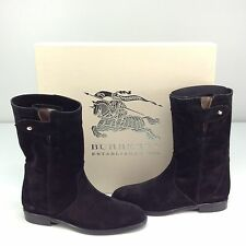 Burberry Lyndhurst House Check Black Suede Flat Boot Size 5.5 / EU 35.5 Pull On