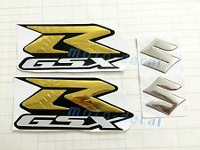 Raised 3D Chrome Suzuki GSXR1000 GSXR750 GSX-R 600 Gold Sticker Tank Decal Bling