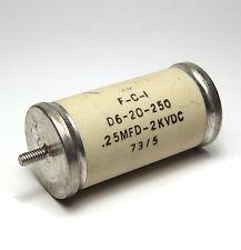 FCI Hochspannungs-Kondensator, 0.25 µF / 2000 V, mit Anschlußbolzen, NOS