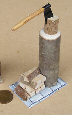 1:12 échelle en bois billot bois & hache maison de poupées jardin accessoire