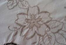 Vintage Ecru Tablecloth Taupe Hand Embroidery Cutwork Needle Lace 81""