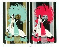 Two Single Vintage Playing Cards Art Deco Fashion Ladies with Fans, Grn/Red