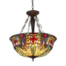 """7.47Victorian 22"""" Shade Reverse Hanging Ceiling Pendant Fixture Stained Glass"""