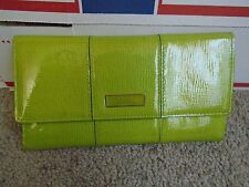 Cole Haahn green patent leather women trifold wallet