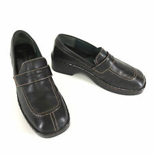 Born 8 Shoes 39 Black Leather Penny Loafer Thick Heel Womens Slip Ons W3252
