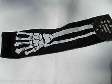 ELBOW LENGTH FASHION NEON SKULL SKELETON BONES PINK GREEN GOTH FINGERLESS GLOVES