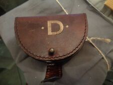 "pottery barn saddle leather earphone case monogrammed ""D"" New"