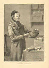 A Christmas Present, by Stacy Marks, Pottery, Vase, Vintage 1876 Antique Print.