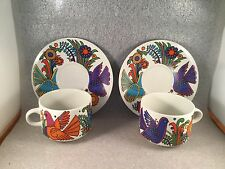 VILLEROY & BOCH 2 ACAPULCO LARGE CUP SAUCER MILANO MUG SET MID CENTURY BLUE SEAL