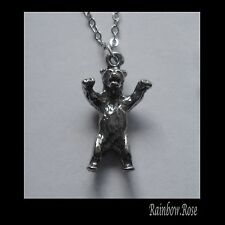 Pewter Necklace on Chain #2028 GRIZZLY BEAR (20mm x 12mm)