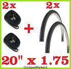 2 x Copertoni + 2 x Camere d'aria ideale  bicicletta GRAZIELLA 20 x 1.75  / NERO
