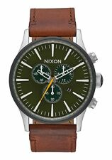 NEW NIXON Sentry Chrono Leather Men's Watch 42mm | SURPLUS / BROWN | A405 2334