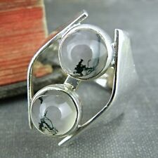 Signed MIF Modernist Black & White Veined Agate Ring - Size 7.75