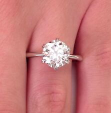 2.00Ct Diamond Engagement Rings 14K White Gold Round Cut VVS1/D Size 8