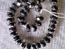 VTG 40 SILVER COATED FACETED RODELLE GLASS BEADS 6X3mm #091816m hard to find