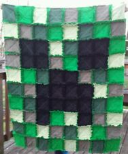 Minecraft Rag Quilt Blanket CREEPER character gift kids birthday~ On Sale now!