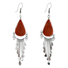 "Genuine Andes Coral Peruvian Earrings Stone Drop Artisan Alpaca Silver 2"" Dangle"